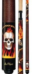 Players - Flaming Cowboy Skull - Two Piece Cues