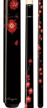 Players - Midnight Black w/ Red Cherry Blossoms - Two Piece Cues
