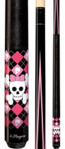 Players - Pink and Black Argyle with Skulls - Two Piece Cues
