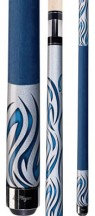 Players - Orion Silver Kandy Blue Tribal Flames - Two Piece Cues