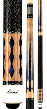 Two Piece Cues - Blue Luster Inlays and Natural Maple - Lucasi