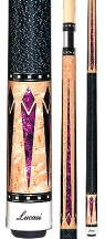 Two Piece Cues - Purple inlays w/ natural birdseye maple - Lucasi