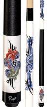 Two Piece Cues - Double Power Koi Fish w/ Tribal Wave Design - Rage